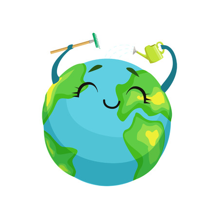 Happy Earth planet character cleaning itself with rake and watering can, cute globe with smiley face and hands vector Illustration Vectores
