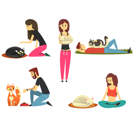Happy people with their cats set, cute pets with their owners cartoon vector Illustrations Vectores