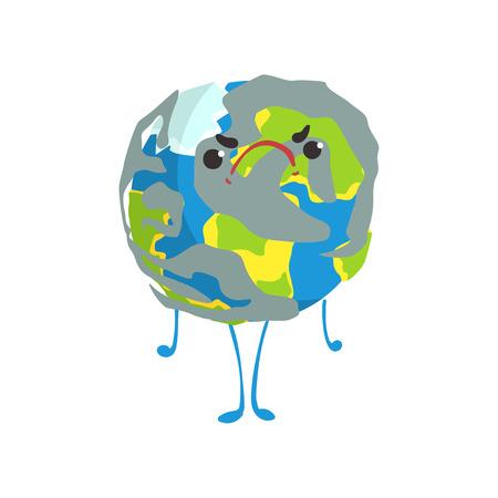 Cute angry cartoon Earth planet character, funny globe emoji vector Illustration