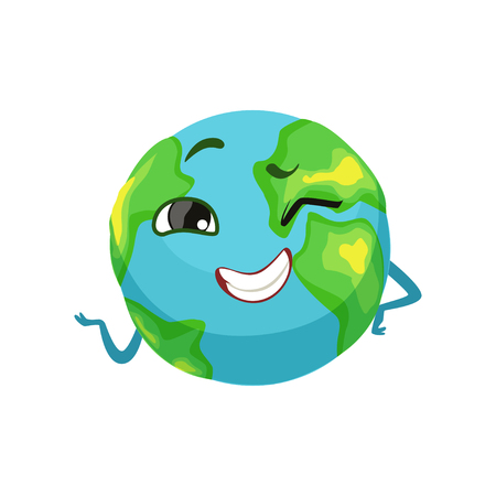 Happy Earth planet character winking, cute globe with smiley face and hands vector Illustration 向量圖像