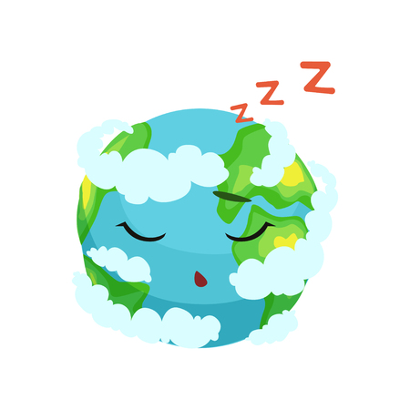 Cute Earth planet character sleeping in white clouds vector Illustration