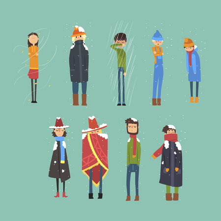 Flat vector set of cartoon freezing men and women. Cold, snowy and rainy weather. Flat people characters dressed in warm winter clothing