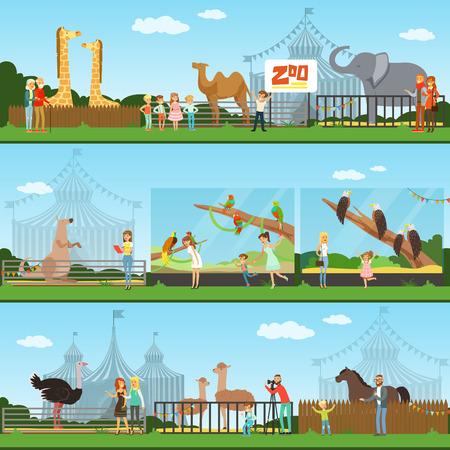 ベクトル イラスト、野生動物を見て子供を持つ親の動物園セットを訪問している人々