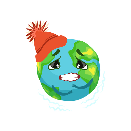 Earth planet character in red hat trembling, cute globe with face and hands vector Illustration Иллюстрация