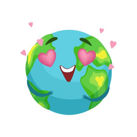 ピンクのハート型の目を持つ面白い地球の惑星のキャラクター、スマイリーフェイスと手ベクトルとかわいい地球