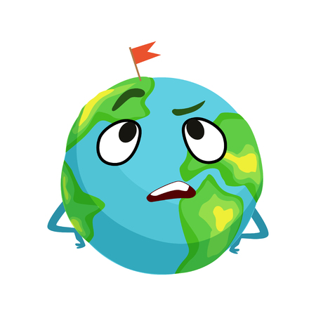 Vexed Earth planet character with hands on its waist, cute globe with face and hands vector Illustration