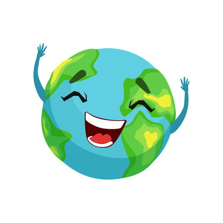 Happy Earth planet character, cute globe with smiley face and hands vector Illustration
