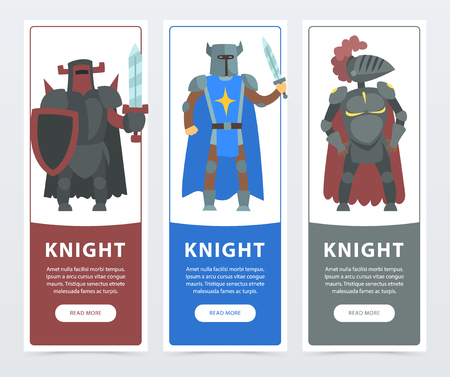 Vector illustration set of flat vertical banners with medieval brave knights. Comic warrior characters wearing in armor with iron helmet and mantle. Cartoon flat design for website, mobile app or card