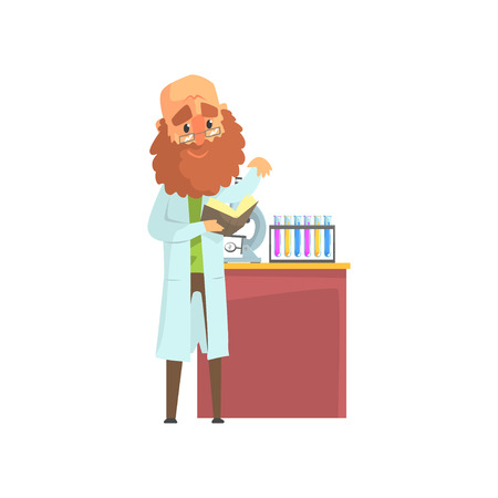Homme scientifique barbu en blouse de laboratoire debout avec livre dans les mains. Tubes à essai chimiques et microscope sur la table. Équipement de laboratoire. Concept de recherche scientifique. Illustration vectorielle plane isolée Banque d'images - 90610340