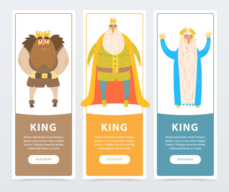 Colorful vertical banners of bearded kings with golden crowns. Ruler of the kingdom. Comic flat characters. Vector illustration with place for text. Design for website, mobile app, poster or card.