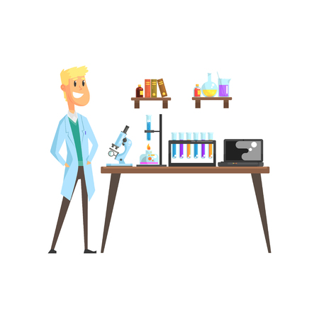 Cheerful young scientist in laboratory. Microscope, test tubes, spirit lamp and laptop on table. Books and glassware with liquids on shelves. Cartoon blond man character in coat. Isolated flat vector. Illustration