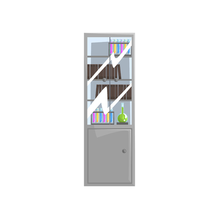 Storage with different science literature books, test tubes and flasks with liquids on shelves. Cabinet with glass doors. Laboratory furniture. Flat vector illustration isolated on white background.