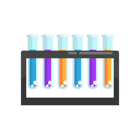 Colorful laboratory glass test tubes with various chemicals on stand. Supplies for scientific experiment. Modern flat design icon element. Cartoon vector illustration isolated on white background.