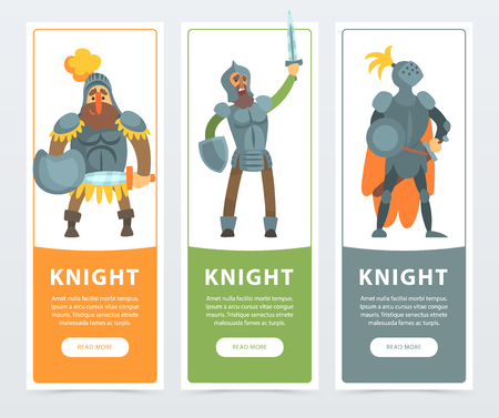 Set of three colorful banners with knights in full armor with swords and shields in hands. Cartoon noble man characters. Warriors ready to fight. Flat vector illustration for card, poster or website.