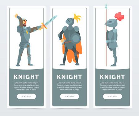 Insieme di vettore delle bandiere verticali con cavalieri medievali in posa in armatura completa. Guardiani del regno. Cartoon design di personaggi medievali per carta o poster. Illustrazione comica variopinta in stile piano