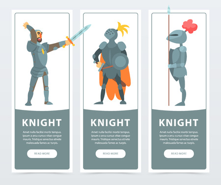 Vector set of vertical banners with medieval knights posing in full armor. Guardians of the kingdom. Cartoon design of medieval characters for card or poster. Colorful comic illustration in flat style