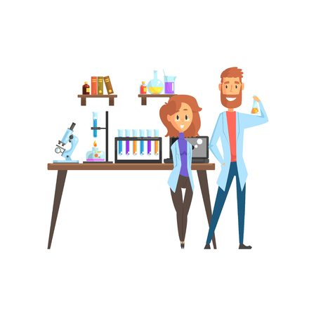 Flat vector of man scientist and girl assistant in laboratory. Smart people characters. Microscope, test tubes, spirit lamp and laptop on working desk, books and glassware with liquids on shelves. Illustration