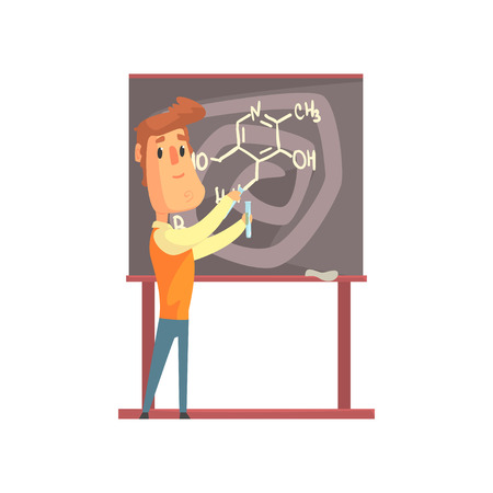 Handsome scientist standing next to blackboard with formula and holding test tubes in hands. Laboratory experiments with liquids. Smart man character. Chemist or biologist. Isolated flat vector. Stock Vector - 90610993