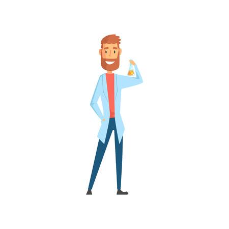Vector illustratie van de jonge fles van de wetenschapperholding met in hand vloeistof. Bebaarde man stripfiguur in witte medische jas. Laboratorium werknemer concept. Platte ontwerp voor promo poster, kaart of flyer.