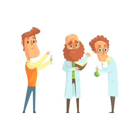 Group of men scientists in laboratory. Funny and smart chemist, physicist and biologist characters in flat style. Smart people concept. Modern vector illustration isolated on white background. Ilustração