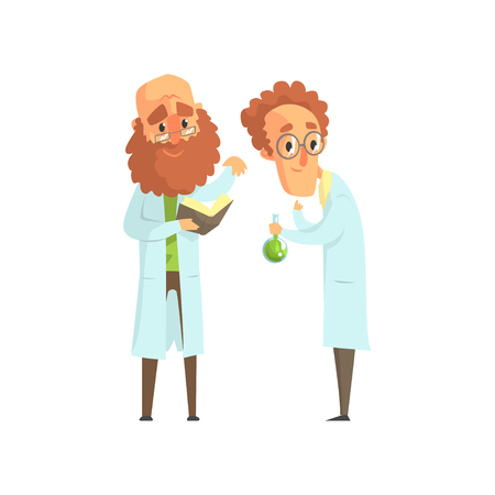 Illustration of two men scientists in laboratory. Bearded biologist with book, chemist with glass flask with green liquid. Smart people characters in white lab coats. Isolated flat vector design. Illustration