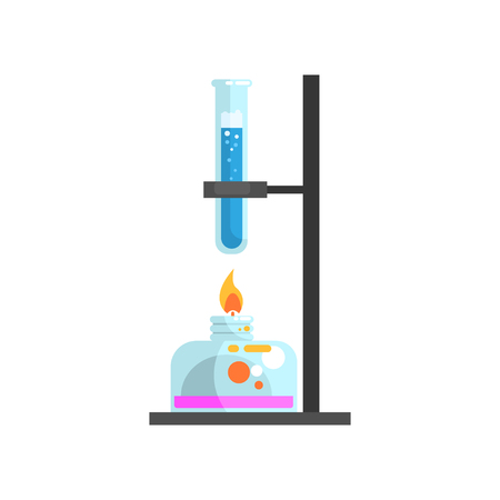 Spirit lamp with fire and glass test tube with blue liquid on stand. Laboratory equipment for science experiments. Modern flat design icon element. Vector illustration isolated on white background.