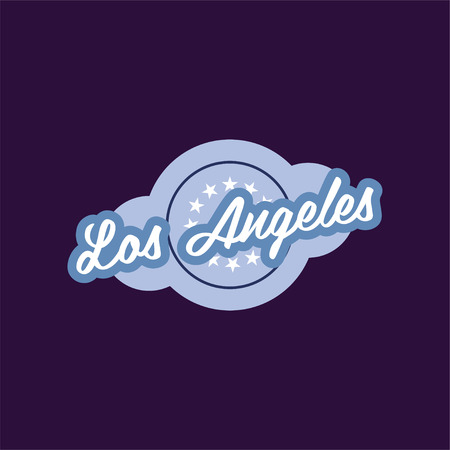 Retro of Los Angeles city. California, USA. Icon with circle and stars. Design for sticker, flyer, print or card. Isolated vector illustration in blue color with caption. Stylish graphic element.