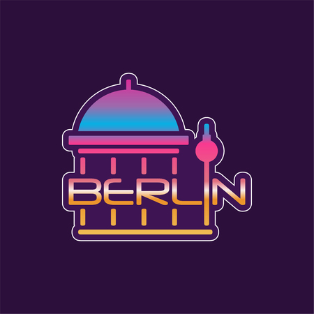 Berlin abstract cathedral in gradient color. Typography design of european capital city. Famous building with caption. Vector illustration template for poster, business or advertising.