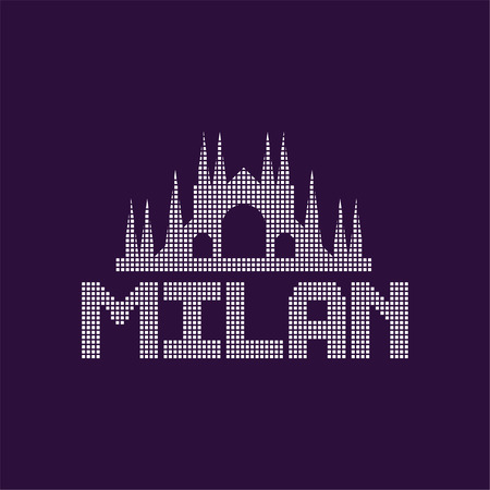 Original of Milan city with caption. Cathedral architecture, famous monument in Italy. Landmark icon. Graphic design template for restaurant or hotel signage. Isolated vector illustration. Çizim