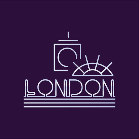Creative London city in line style. Abstract Big Ben clock tower and ferris wheel. Vector design template Illustration