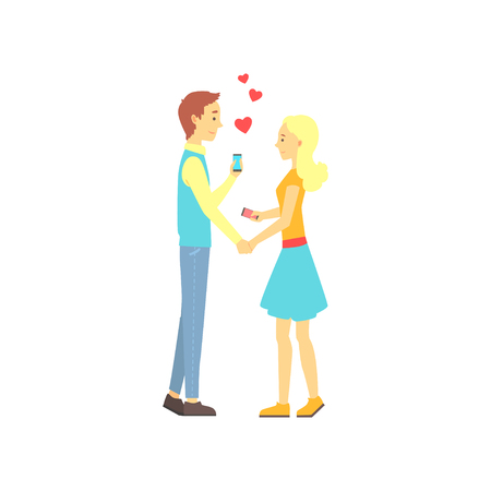 Young boy and girl found their love with dating mobile app. Online date service or website concept for promo. Vector illustration Çizim
