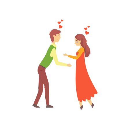 Young couple in love, boy and girl attracted to each other. Online dating service or website promo concept. Vector illustration