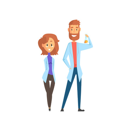 Young man and woman scientists in white lab coats standing isolated on white background. Smart people concept. Flat vector illustration