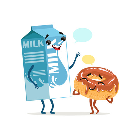 Milk packing and cute donut in chocolate icing with blank speech bubbles. Comic food and drink characters. Flat vector illustration Vectores