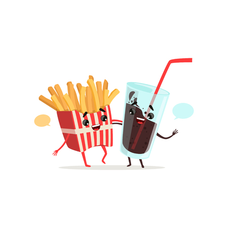 Frieten en colaglas met lege toespraakbellen. Grappig fastfood en drankje concept. Vrienden gesprek. Geïsoleerde platte vector