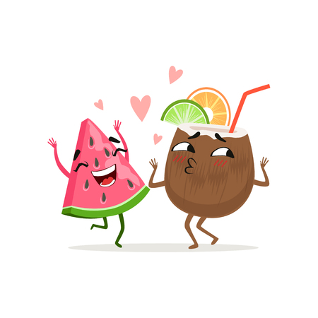 Cheerful piece of watermelon and coconut cocktail with slice of lime and orange dancing together. Flat cartoon characters. Isolated vector Vectores