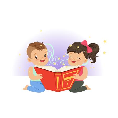 판타지 이야기와 함께 마법의 책을 읽고 두 어린 아이. 만화 소년과 소녀 문자입니다. 어린 시절과 아이 상상력 개념입니다. 플랫 벡터 일러스트 레이 일러스트