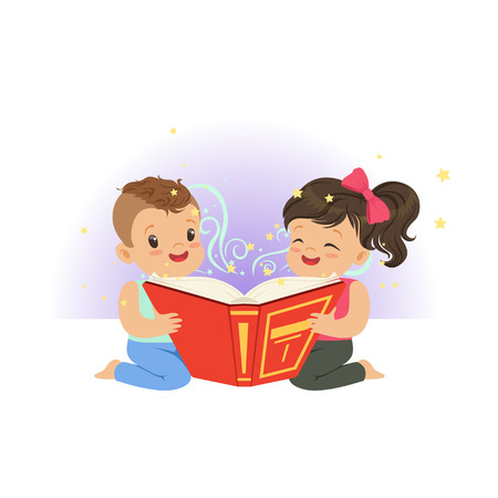 Two little children reading magic book with fantasy stories. Cartoon boy and girl characters. Childhood and kid imagination concept. Flat vector illustration