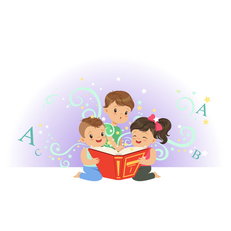 Excited little kids, boys and girl looking at magic book. Children characters with colorful imagination. Fantasy concept. Flat vector illustration Çizim