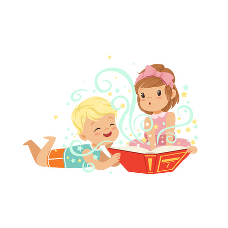 Boy with little girl reading magic book with fantasy stories. Brother and sister characters. Children imagination concept. Isolated flat vector