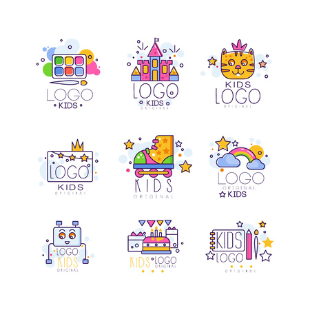 Kids line set. Paint palette with brush, castle, cat, rollers, rainbow with clouds, robot, cake with gifts, drawing pad and pen. Vector design Ilustracja