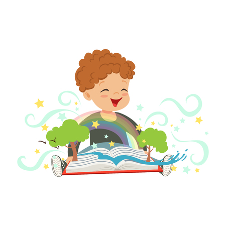 Adorable toddler boy having fun with magic pop-up book. Cheerful kid character with colorful imagination. Fantasy concept. Flat vector