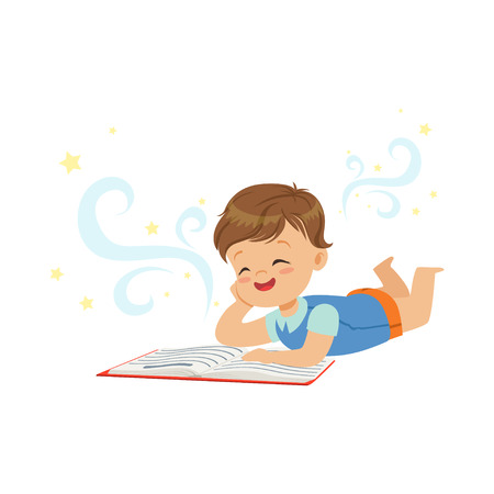 Funny little boy lying and reading magic book with fantasy stories. Interesting childhood and imagination concept. Isolated flat vector