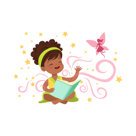 Cute little girl sitting on floor with magic book and waving by hand to imaginary pink fairy. Cartoon kid character surrounded by stars. Flat vector illustration