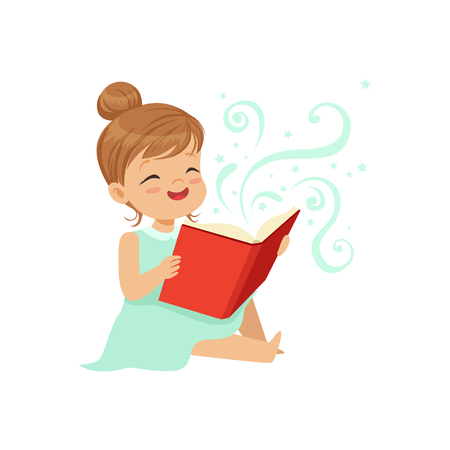 Cute toddler girl sitting on the floor with open magic book. Cheerful children character reading fairy tales. Happy childhood. Flat vector illustration