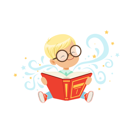 Cheerful little boy sitting on the floor with magic story book. Cartoon kid character in glasses. Children imagination. Flat vector illustration