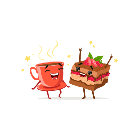 Dancing cup of coffee and piece of cake with strawberry. Food and drink characters having fun. Vector flat cartoon illustration