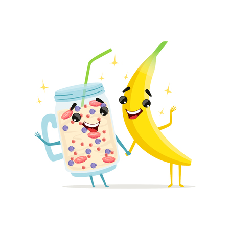 Funny characters of banana and fruit smoothie. Healthy nutrition icon. Cartoon vector characters in flat style.