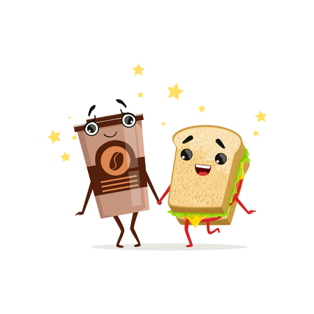 Coffee in plastic cup and sandwich holding by hands. Fast food and drink shop icon. Isolated flat design vector Vectores