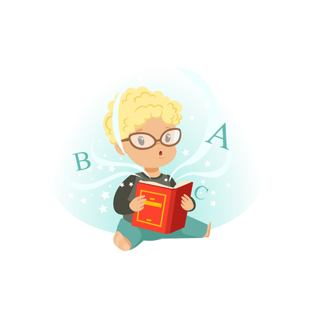 Adorable little boy sitting on floor surrounded by stars and reading educational magic book. Cartoon kid character in glasses. Isolated flat vector illustration